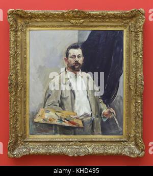 """Malerei 'Selbst-Portrait mit der Palette"""" (1906) von Deutschen impressionistischen Malers Max Slevogt auf Anzeige - Stockfoto"""