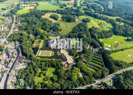 Romantik Parkhotel Wasserburg Anholt, Museum Wasserburg Anholt, mit barocken Garten, wasserschloss Anholt, Isselburg - Stockfoto