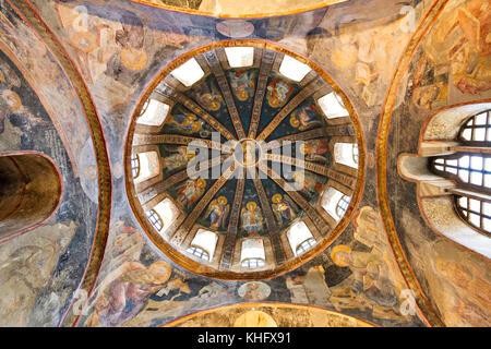 Byzantinische Fresken und Mosaiken der Chora Kirche, in Istanbul, Türkei. - Stockfoto