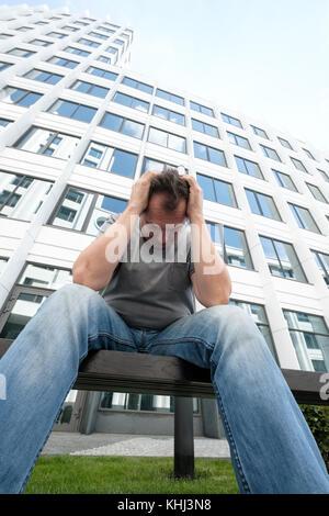 Traurig mittleren Alter Mann portrait - Stockfoto