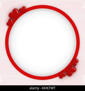 3D-Render von roten Rahmen mit Herz für Valentines Tag Karte mit weißen Raum für Text - Stockfoto