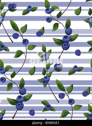 Vektor natürliche nahtlose Muster von blueberry Zweig, Wald Obst mit grünen Blätter grün Aquarell stil hintergrund. - Stockfoto
