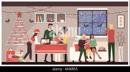 Leute Weihnachten feiern gemeinsam zu Hause: Familienzimmer mit Verbindungstür mit mobilen Geräten und einem Laptop, - Stockfoto