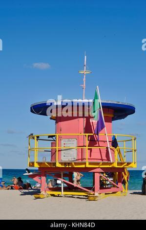 Art déco-Gebäude Gesichter und Design in South Beach, Miami, Florida, USA. - Stockfoto