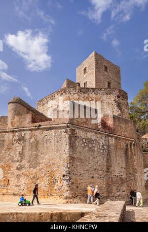 Royal chateau, Collioure, Languedoc - Roussillon, Pyrenäen - Orientales, Frankreich. - Stockfoto