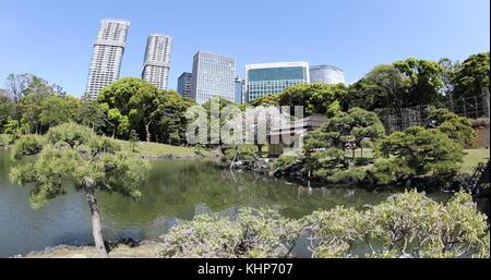 Shiodome Gebäude in Hamarikyu Gärten - Stockfoto