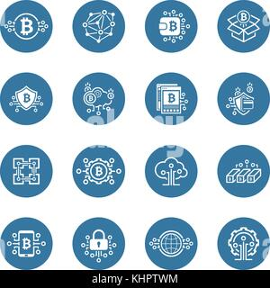 Bitcoin und Blockchain Cryptocurrency Symbole. - Stockfoto