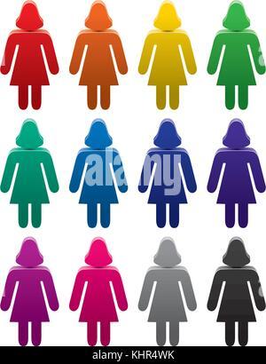 Vektor einrichten von bunten weiblichen Symbole - Stockfoto
