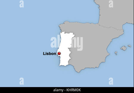 Abstrakte 3D-Render von Karte von Portugal in der Farbe weiß und die Lage der Hauptstadt Lissabon mit rotem Stift - Stockfoto
