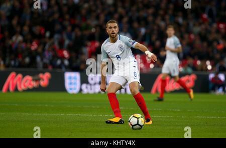 Jordan Henderson von England während der FIFA World Cup Qualifier Match zwischen England und Slowenien im Wembley - Stockfoto