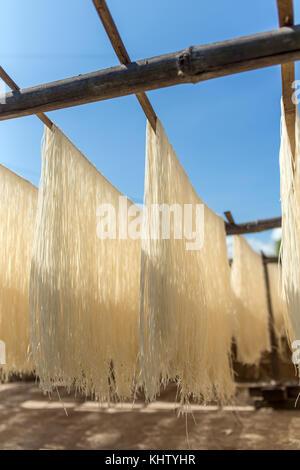 Hausgemachte Pasta Reis trocknen auf Sonne in Myanmar. - Stockfoto
