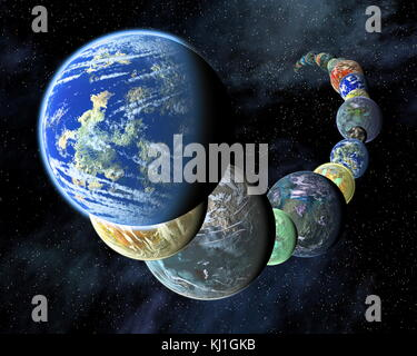 Exo - Planeten in einer Montage, Concept Artist, um zu zeigen, dass Rocky, terrestrische Welten wie die inneren - Stockfoto