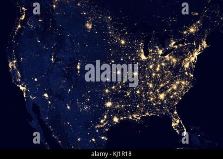 Vereinigte Staaten von Amerika in der Nacht ist ein Verbund von Daten durch die Suomi NPP-Satelliten im April und - Stockfoto