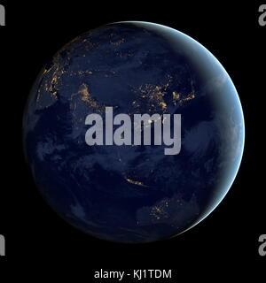 Asien und Australien bei Nacht ist ein Verbund von Daten durch die Suomi NPP-Satelliten im April und im Oktober - Stockfoto