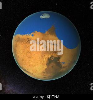 Computer-generierte Ansichten des Mars mit primitiven Ozeans. NASA-Wissenschaftler haben festgestellt, dass ein - Stockfoto