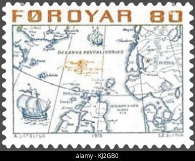 Färöer Stempel 006 Karte von den nordischen Ländern 80 oyru - Stockfoto