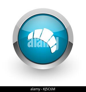 Croissant blau silber metallic Chrom Grenze Web und Handy Symbol auf weißem Hintergrund mit Schatten - Stockfoto