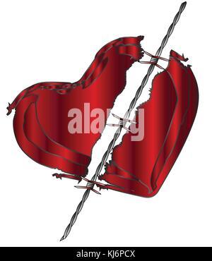Eine zerrissene Herzen mit Stacheldraht geteilt - Stockfoto