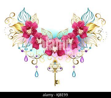 Symmetrische Komposition exotischer rosa Orchideen mit goldenen Blätter und gold Ketten, mit Lila und Türkis Perlen - Stockfoto