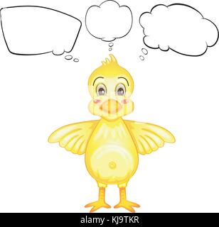 Abbildung: ein gelber Vogel mit leeren Callouts auf weißem Hintergrund - Stockfoto