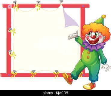 Abbildung: ein Clown neben einem leeren signage auf weißem Hintergrund - Stockfoto