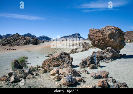 Mondlandschaft im Parque Nacional de Las Canadas del Teide Nationalpark und UNESCO-Weltkulturerbe, Teneriffa, Kanarische - Stockfoto