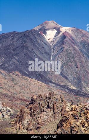Pico del Teide, Unesco Weltnaturerbe, Weltkulturerbe, mit 3718 Metern der höchste Berg in Spanien, Teneriffa, Kanarische - Stockfoto