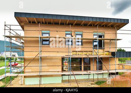 Gebaude Energieeffizient Passive Holzhaus Baustelle Und Aussen Eine