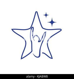 Hoffe, Stern, Person hebt seine Hände in die Umrisse von Stern, Stern, Hoffnung Symbol auf weißem Hintergrund. - Stockfoto