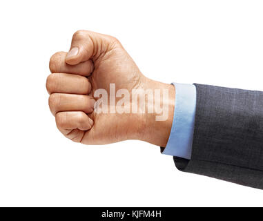 Des Menschen Hand in Anzug mit Faust, auf weißem Hintergrund. Hochauflösende Produkt. Nahaufnahme - Stockfoto