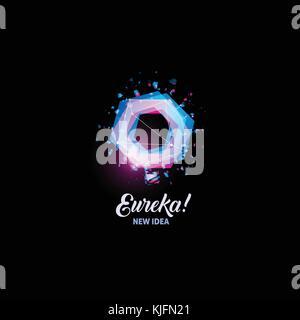 Eureka, neue Idee Logo, Glühbirne abstrakt Vektor Symbol. in den Farben Pink und Blau Polygone Form isoliert, stilisierte - Stockfoto