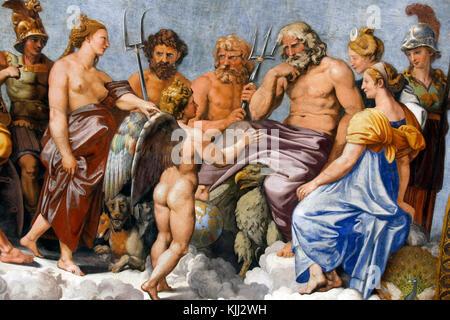 Villa Farnesina in Rom. Die Loggia von Amor und Psyche, die mit Fresken geschmückte Decke von Raphael und seiner - Stockfoto