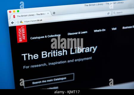 LONDON, GROSSBRITANNIEN, 17. November 2017: Die Homepage der offiziellen Website für die British Library, die am - Stockfoto