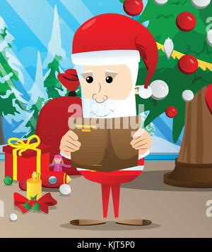 Santa Claus, ein Buch zu lesen. Vektor Zeichentrickfigur Abbildung. - Stockfoto