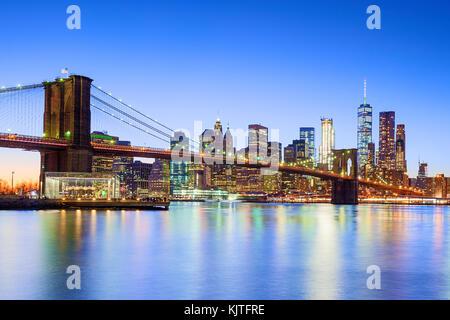 New York Skyline New York City Brooklyn Bridge One WTC World Trade Center - Stockfoto