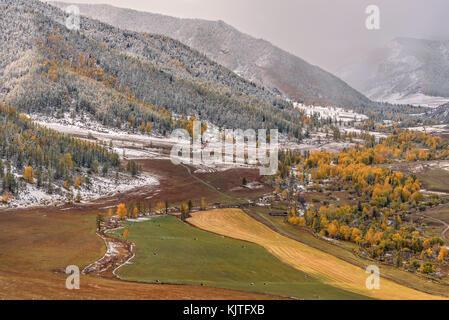 Malerischer herbst Luftaufnahme auf Berge mit Wald bedeckt, das Tal zwischen den Bergen, Felder, Straße, goldenen - Stockfoto