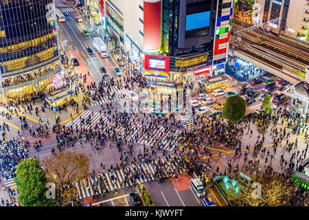 Shibuya, Tokio, Japan, Zebrastreifen und Stadtbild. - Stockfoto