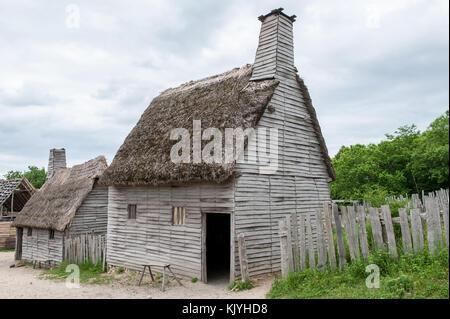 Plimoth Plantation repliziert die ursprüngliche Siedlung der Pilger an der Plymouth Kolonie, wo nach den ersten - Stockfoto