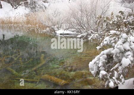 Winterlandschaft, Nationalpark Plitvicer Seen, Kroatien - Stockfoto