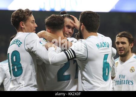 Madrid, Spanien. 28 Nov, 2017. Spieler von Real Madrid jubilate das erste Ziel der Mannschaft während der King's - Stockfoto
