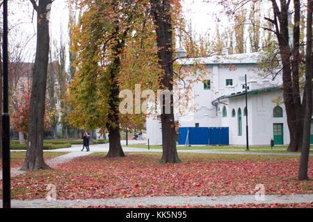 Herbstlandschaft park Leute gehen an einem Park mit Blätter auf dem Boden und weißes Gebäude. - Stockfoto