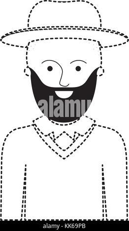 Mann halb Körper mit Hut und Pullover mit kurzen Haaren und Bart in schwarz gepunktete Silhouette - Stockfoto