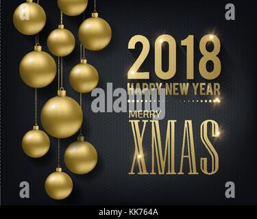 Grußkarte, Einladung mit ein Frohes neues Jahr 2018 und Weihnachten. Metallic gold Weihnachtskugeln, Dekoration, - Stockfoto