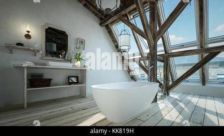 ... Eine Moderne, Minimalistische Badezimmer In Einem Loft Conversion Mit  Freistehenden Ovalwanne Vor Der Strukturellen