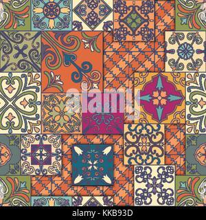 Nahtlose Muster mit portugiesischen Kacheln in talavera Stil. Azulejo, Marokkanisch, mexikanische Ornamente - Stockfoto