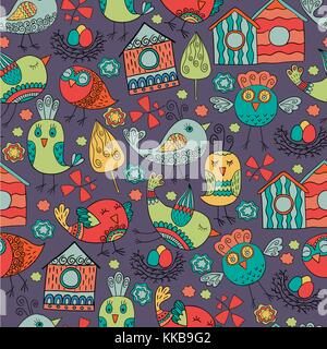 Bunte doodle nahtlose Muster mit Vögeln. für Tapeten verwendet werden können, musterfüllungen, Webseite Hintergrund, - Stockfoto