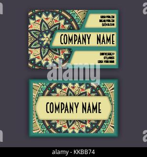 Vector vintage Visitenkarte gesetzt. florale Muster und Ornamente Mandala. orientalisches Design Layout. - Stockfoto