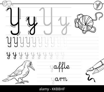 Cartoon Illustration Fähigkeiten Praxis mit Buchstaben V ...
