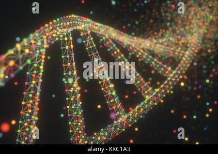 3D-Darstellung. Bunte DNA-Molekül. Konzept Bild einer Struktur des genetischen Codes. - Stockfoto