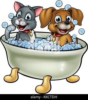 Cartoon Hund In Der Badewanne Vektor Abbildung Bild 154811877 Alamy